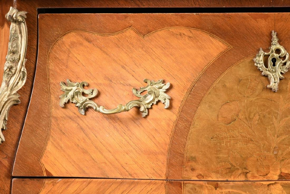 A FRENCH LOUIS XV STYLE MARQUETRY INLAID MIXED WOOD - 3
