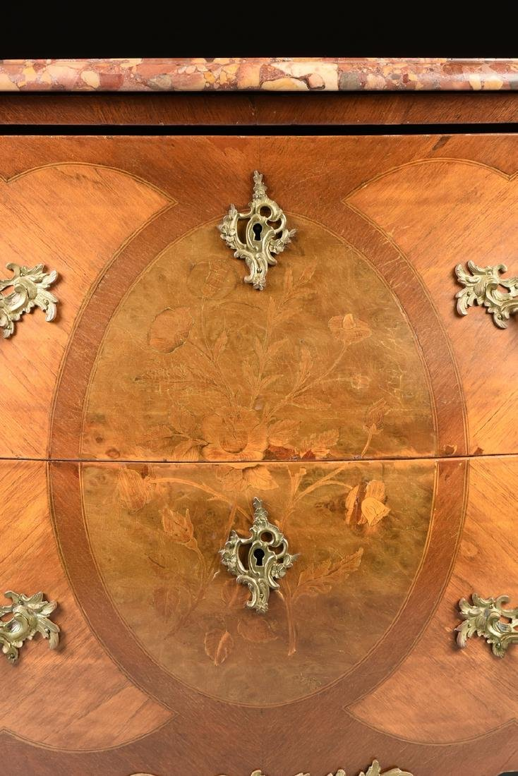 A FRENCH LOUIS XV STYLE MARQUETRY INLAID MIXED WOOD - 4