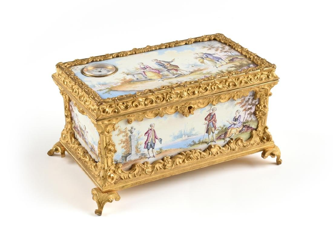 A CONTINENTAL GILT BRONZE AND COLORFULLY ENAMELED