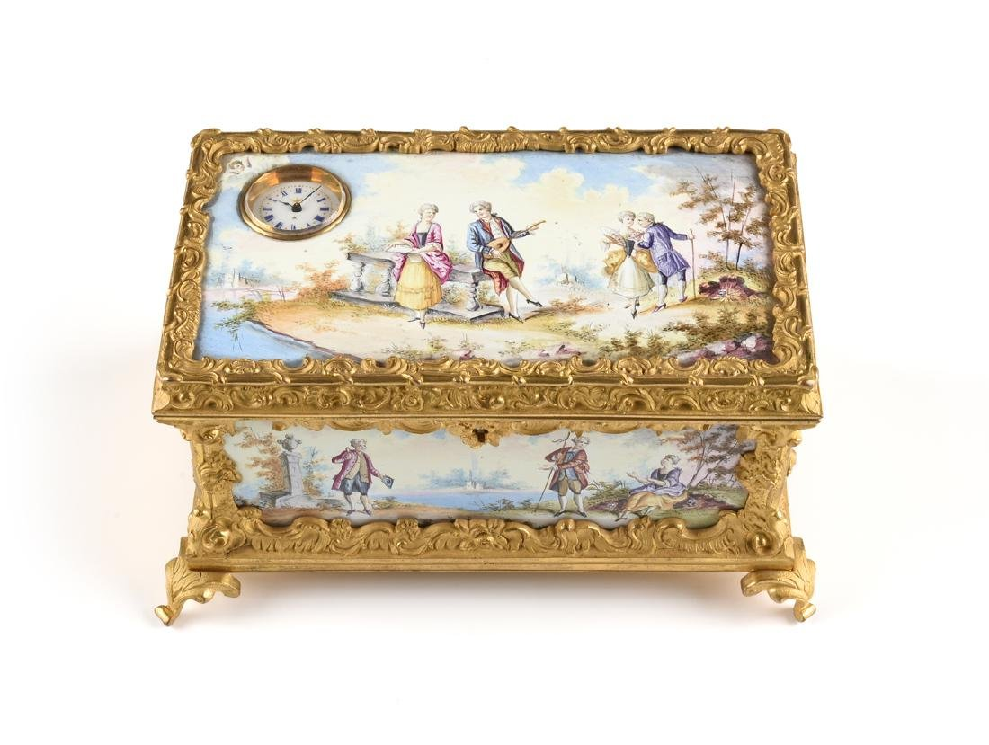 A CONTINENTAL GILT BRONZE AND COLORFULLY ENAMELED - 3