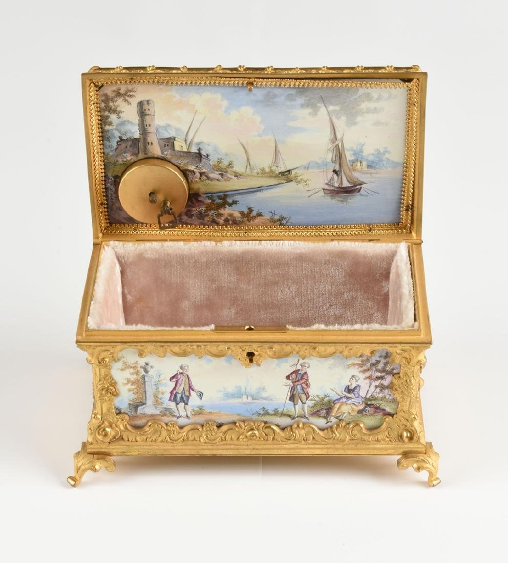 A CONTINENTAL GILT BRONZE AND COLORFULLY ENAMELED - 4