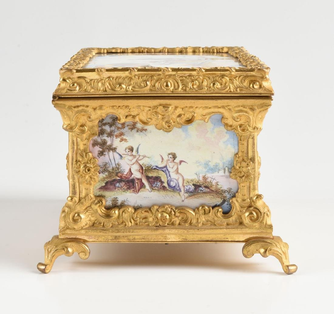 A CONTINENTAL GILT BRONZE AND COLORFULLY ENAMELED - 6