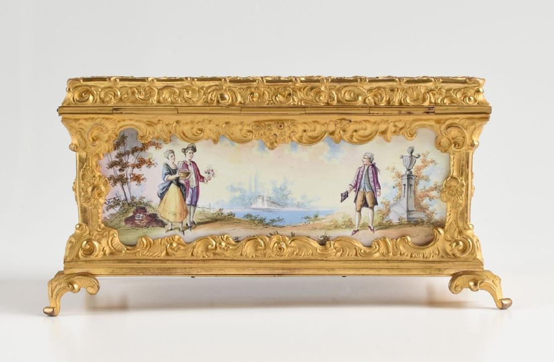 A CONTINENTAL GILT BRONZE AND COLORFULLY ENAMELED - 7