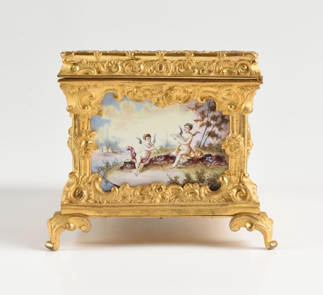 A CONTINENTAL GILT BRONZE AND COLORFULLY ENAMELED - 8