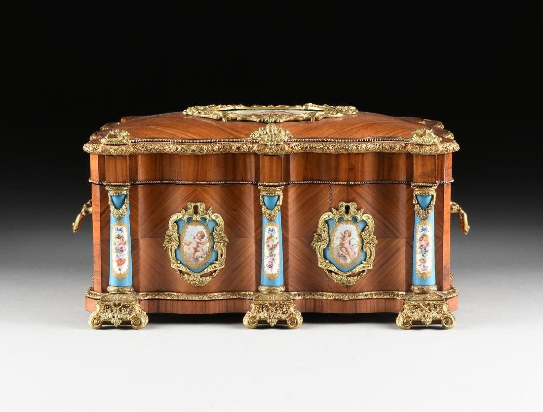 A NAPOLEON III GILT BRONZE AND PORCELAIN MOUNTED - 2