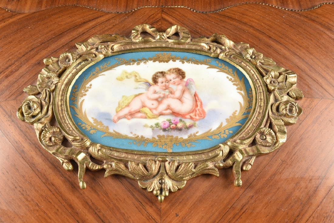A NAPOLEON III GILT BRONZE AND PORCELAIN MOUNTED - 9
