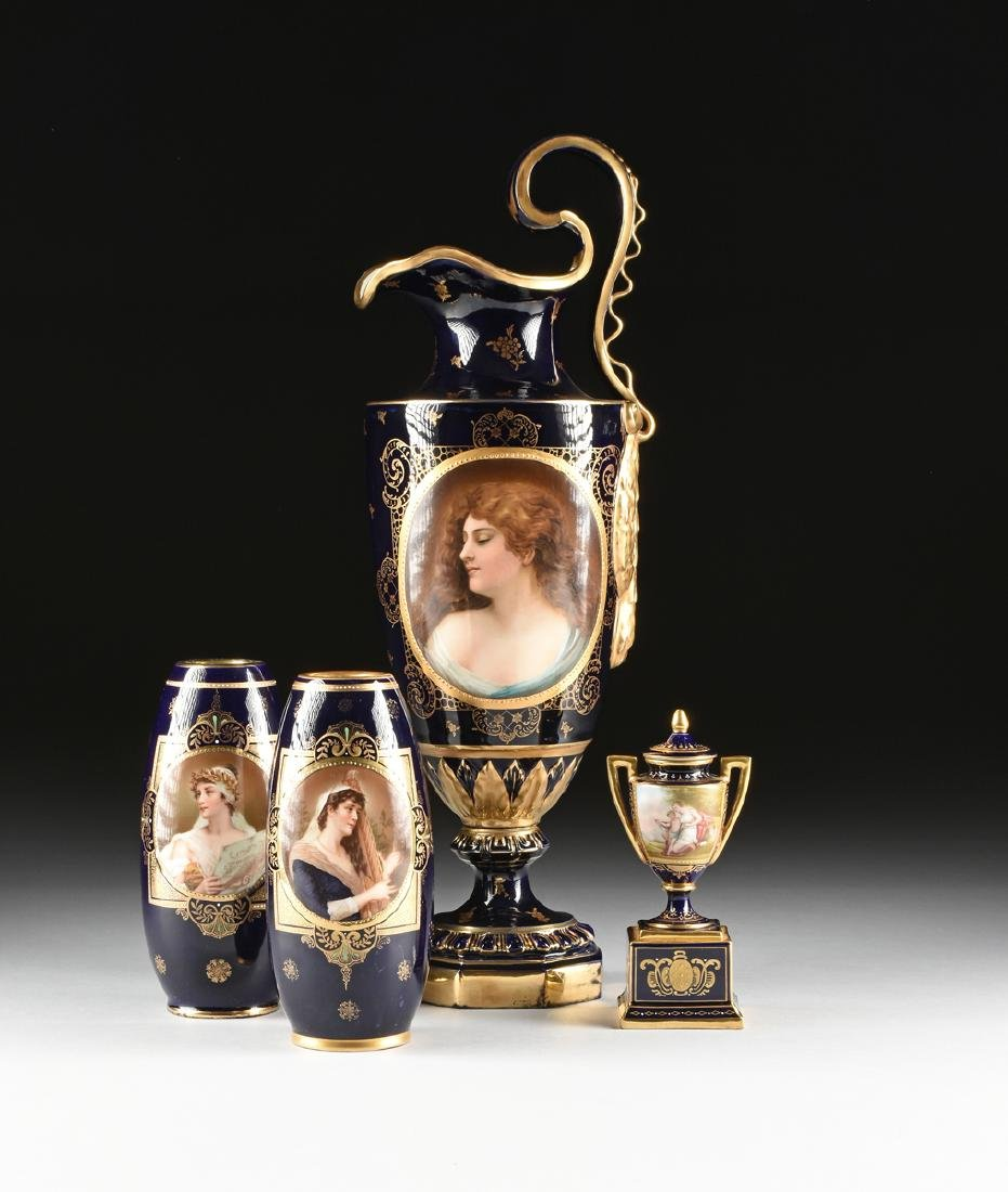 A GROUP OF FOUR ROYAL VIENNA STYLE PARCEL GILT COBALT