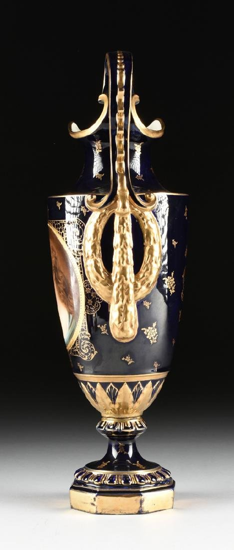 A GROUP OF FOUR ROYAL VIENNA STYLE PARCEL GILT COBALT - 5