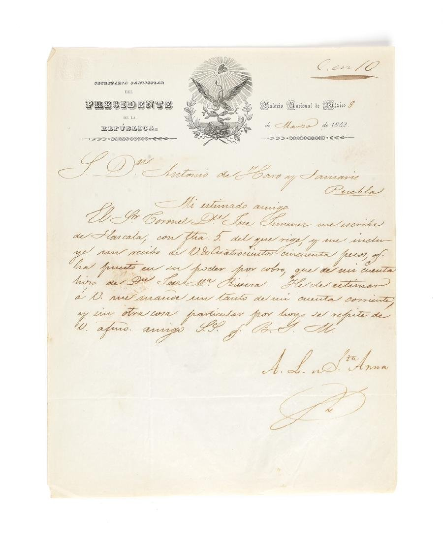 """AN AUTOGRAPHED LETTER SIGNED """"A.L. STA. ANNA,"""" AS"""