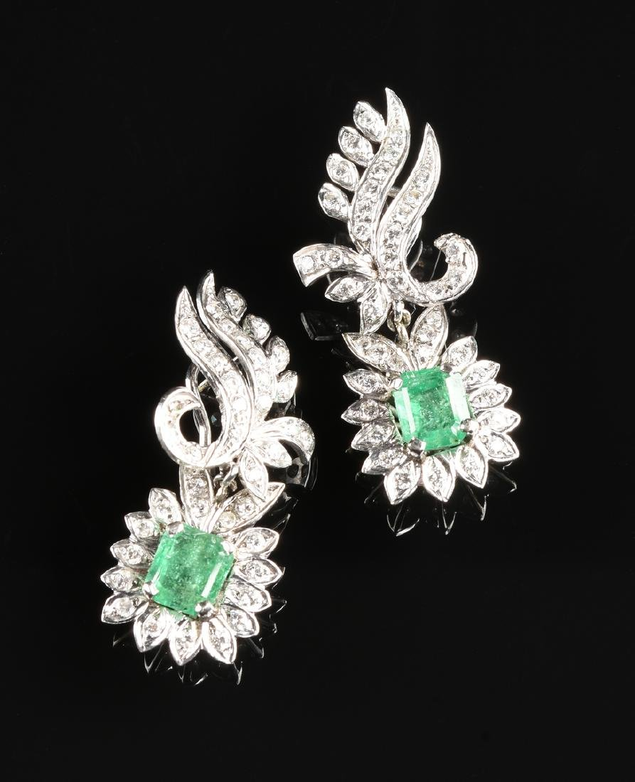A PAIR OF 14K WHITE GOLD, PLATINUM, EMERALD, AND - 2