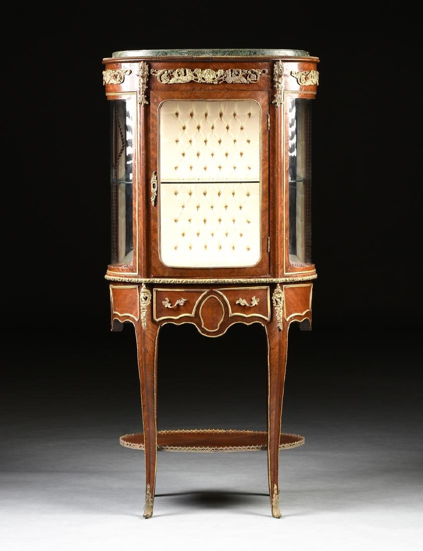 A LOUIS XV STYLE ORMOLU MOUNTED MAHOGANY MARBLE TOP
