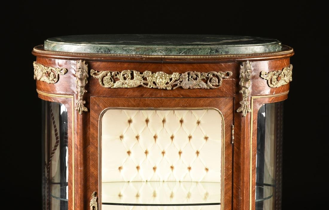 A LOUIS XV STYLE ORMOLU MOUNTED MAHOGANY MARBLE TOP - 2