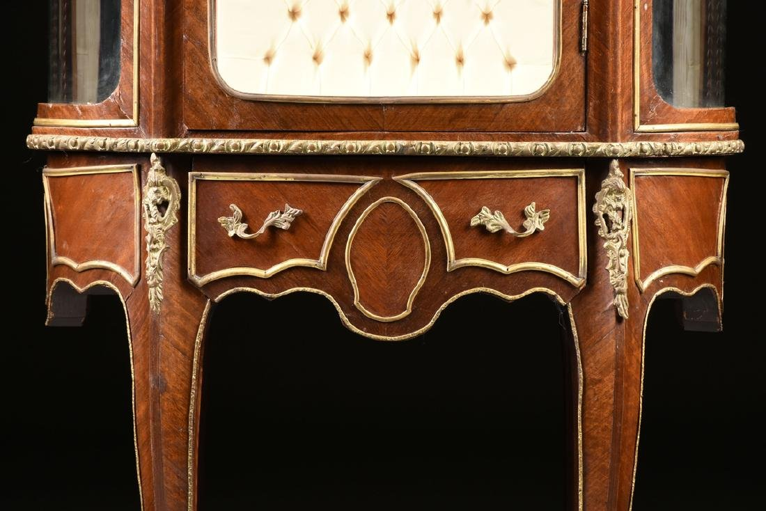 A LOUIS XV STYLE ORMOLU MOUNTED MAHOGANY MARBLE TOP - 4