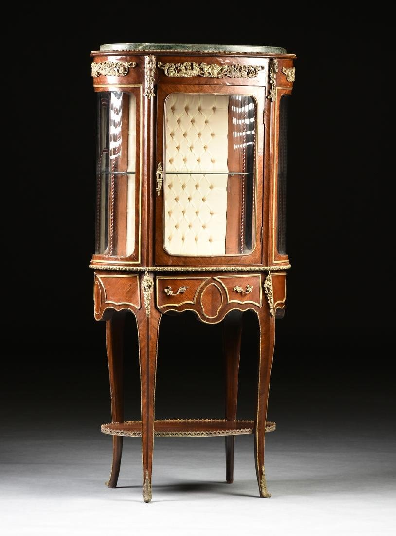 A LOUIS XV STYLE ORMOLU MOUNTED MAHOGANY MARBLE TOP - 7