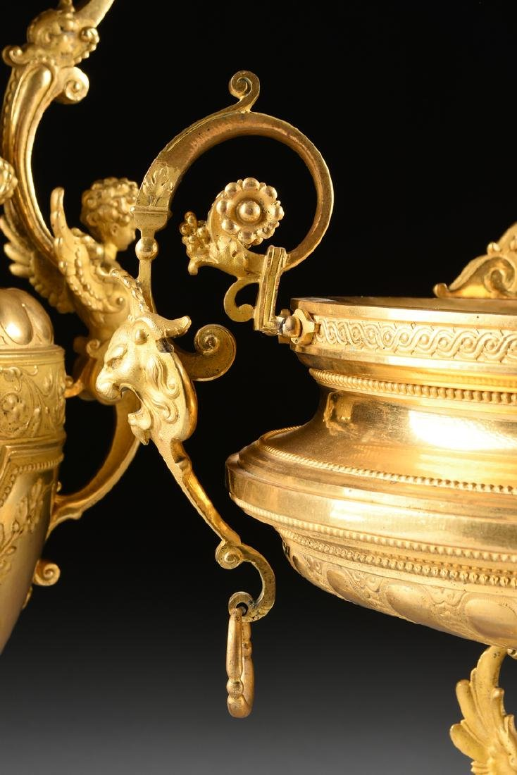 A THREE PIECE FRENCH NAPOLEON III STYLE TWO-TONE CAST - 4