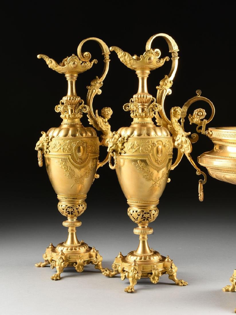 A THREE PIECE FRENCH NAPOLEON III STYLE TWO-TONE CAST - 8