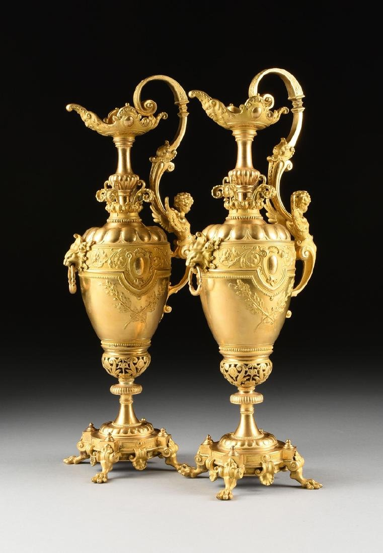 A THREE PIECE FRENCH NAPOLEON III STYLE TWO-TONE CAST - 9