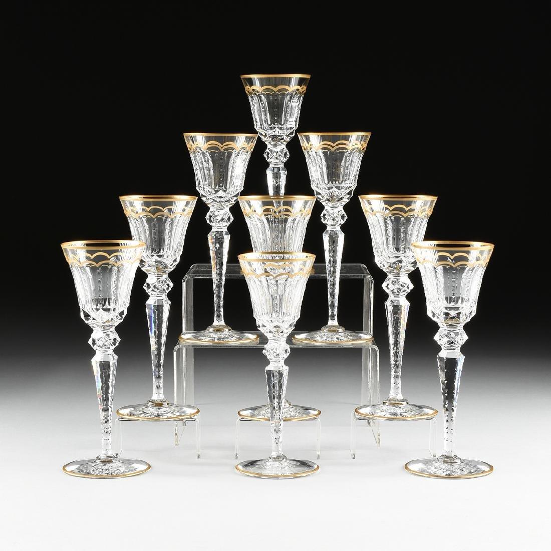 A SET OF NINE SAINT LOUIS CUT CRYSTAL WATER GLASSES IN