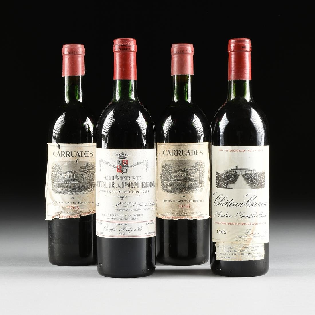 A GROUP OF FOUR BOTTLES OF FRENCH WINE,