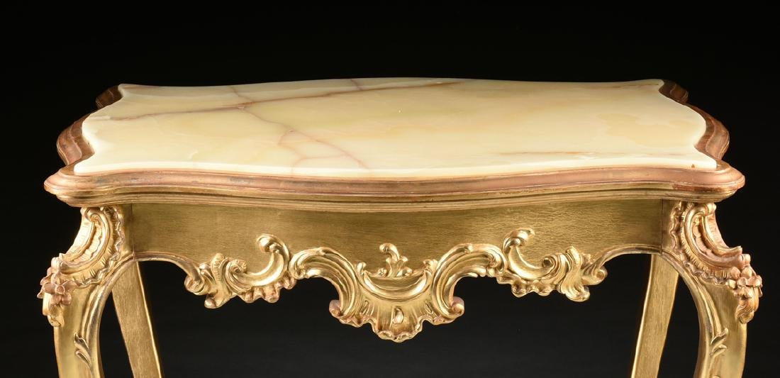 A ROCOCO REVIVAL GILTWOOD AND COMPOSITION ONYX TOP - 2