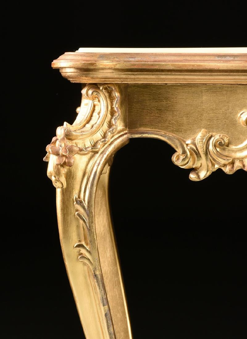 A ROCOCO REVIVAL GILTWOOD AND COMPOSITION ONYX TOP - 3