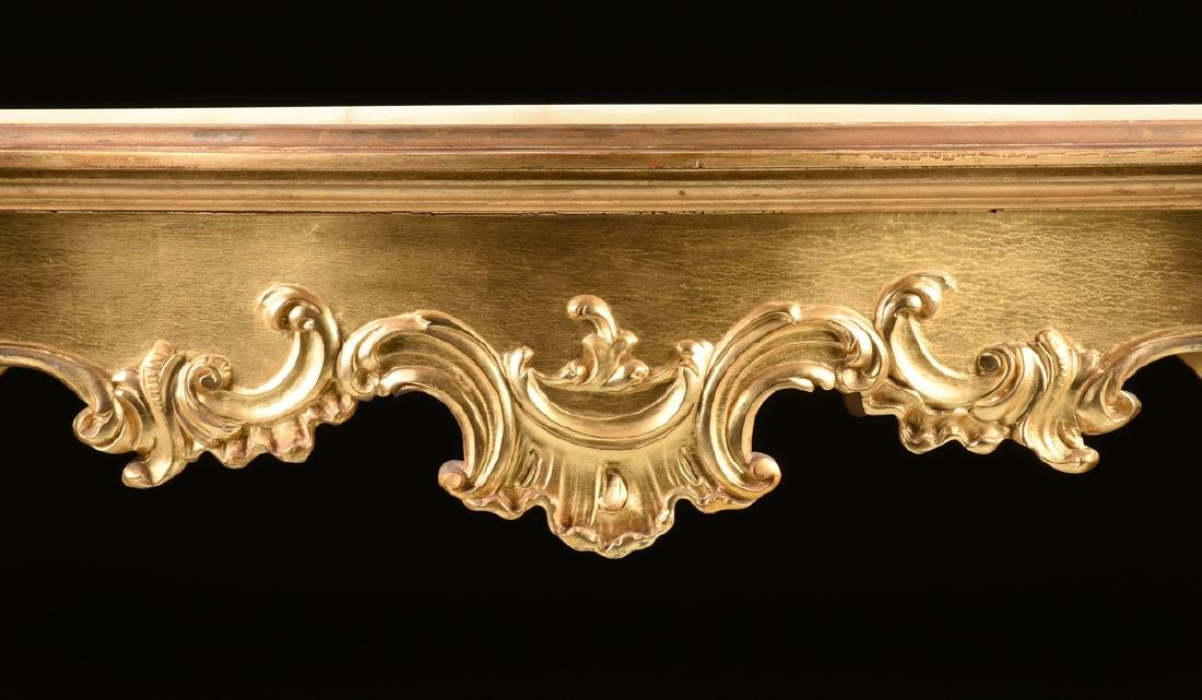 A ROCOCO REVIVAL GILTWOOD AND COMPOSITION ONYX TOP - 4