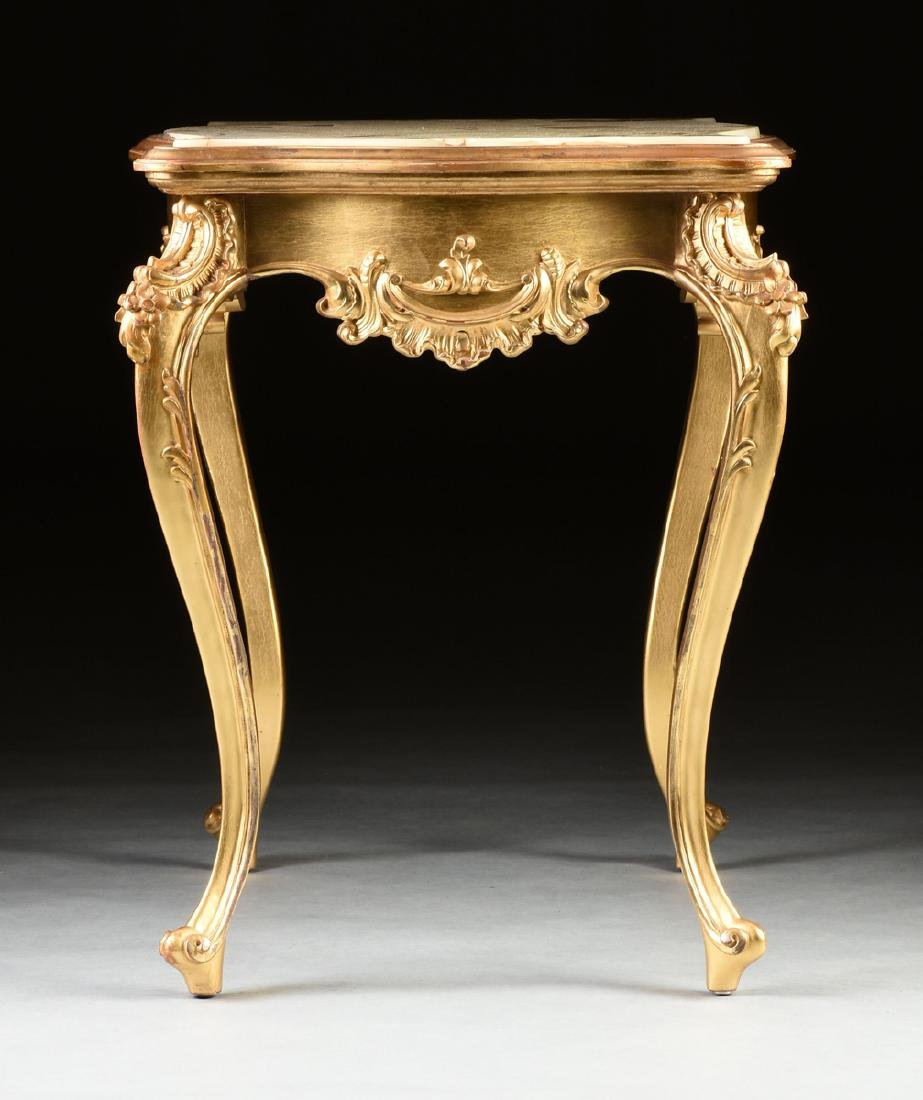 A ROCOCO REVIVAL GILTWOOD AND COMPOSITION ONYX TOP - 7