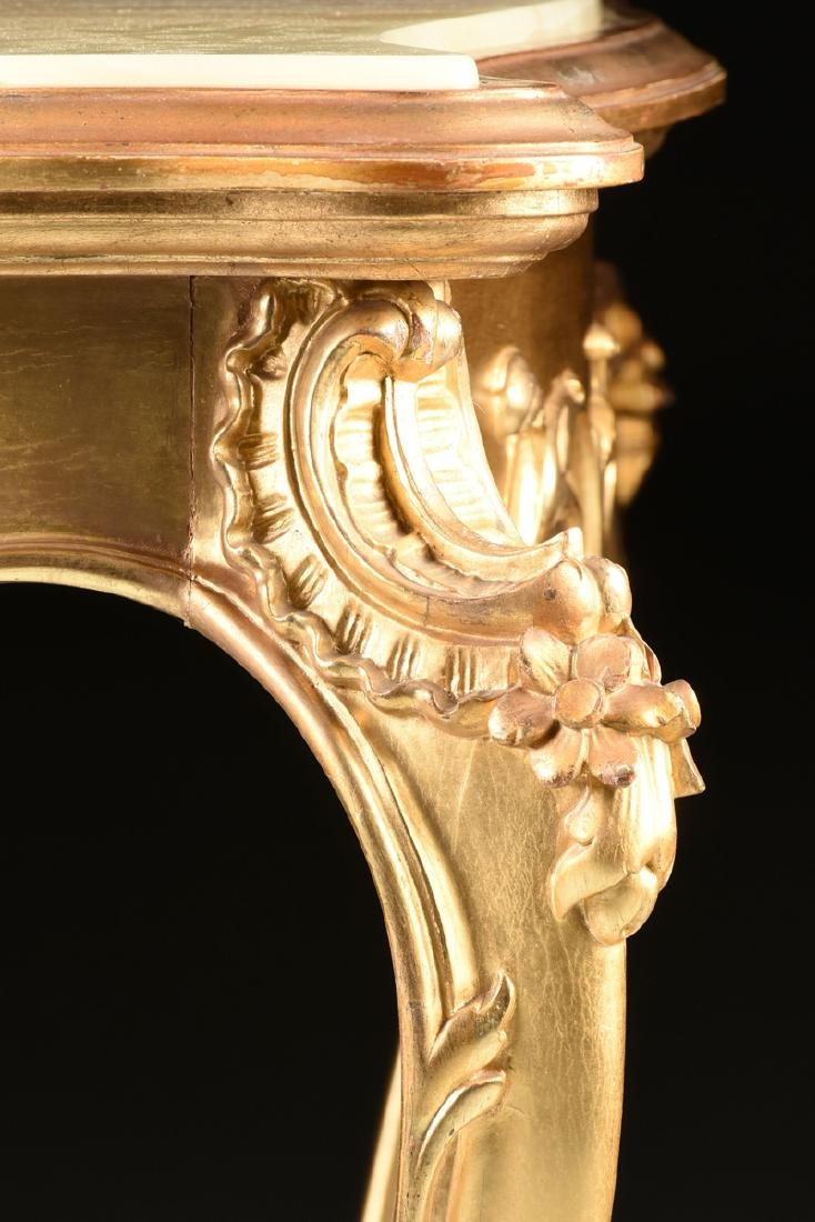 A ROCOCO REVIVAL GILTWOOD AND COMPOSITION ONYX TOP - 8