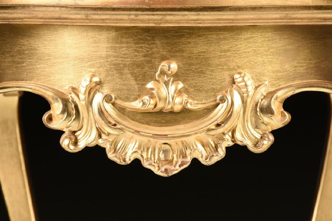 A ROCOCO REVIVAL GILTWOOD AND COMPOSITION ONYX TOP - 9