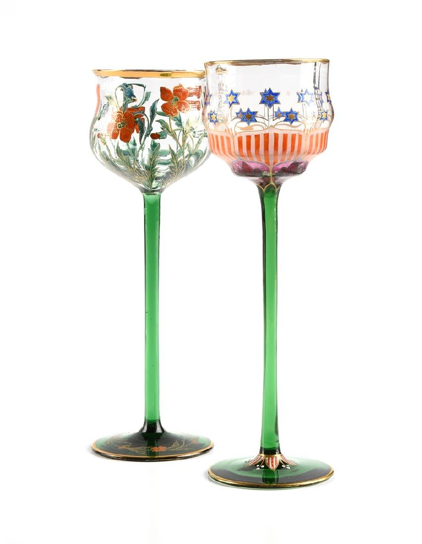 A GROUP OF TWO MEYR'S NEFFE GILT AND ENAMEL DECORATED