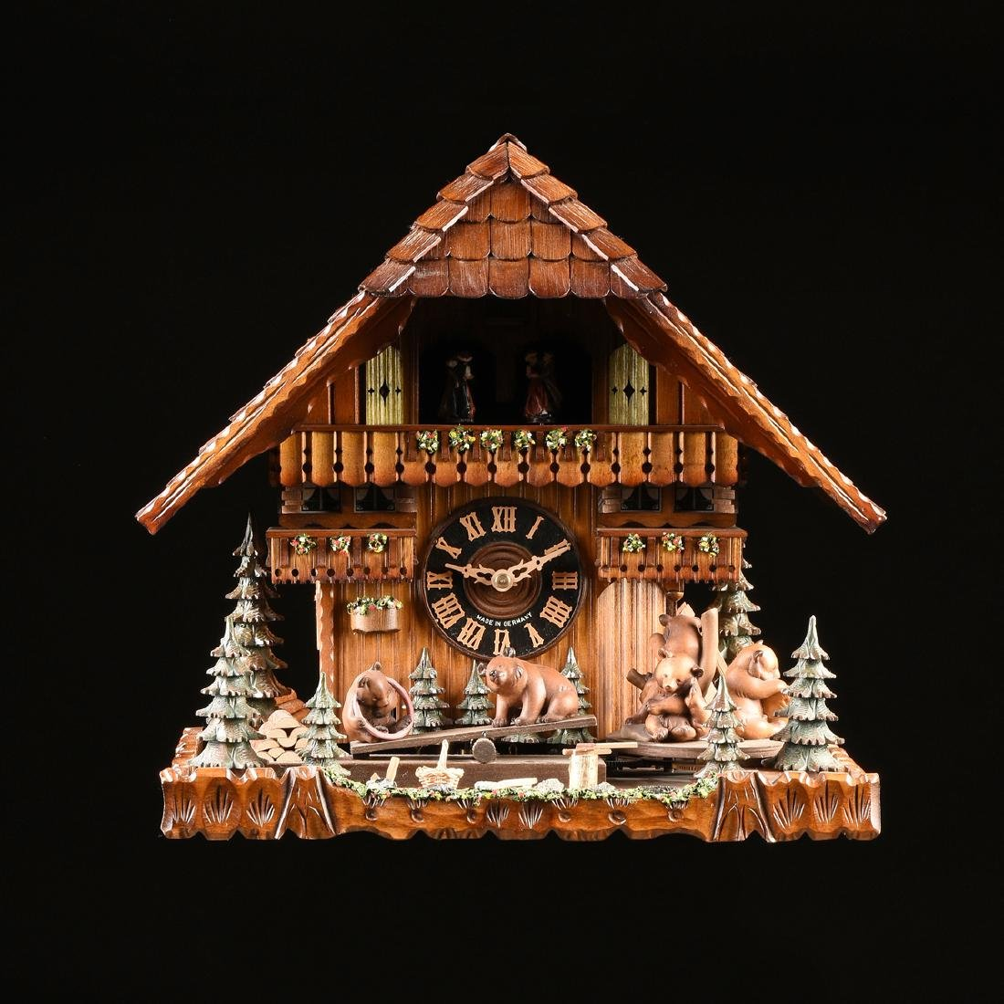 """A GERMAN BLACK FOREST CUCKOO CLOCK, """"Bears at Play by"""