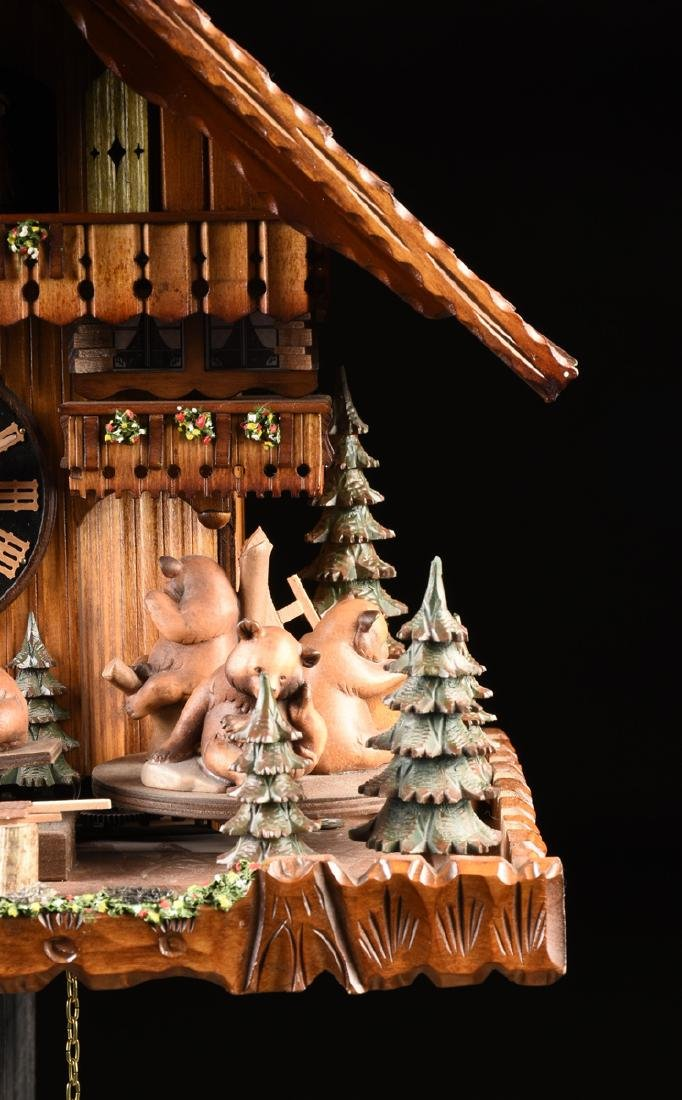 """A GERMAN BLACK FOREST CUCKOO CLOCK, """"Bears at Play by - 3"""