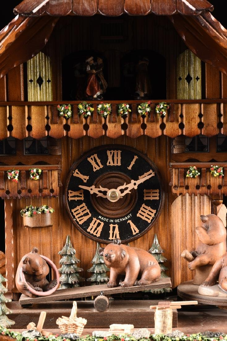 """A GERMAN BLACK FOREST CUCKOO CLOCK, """"Bears at Play by - 4"""