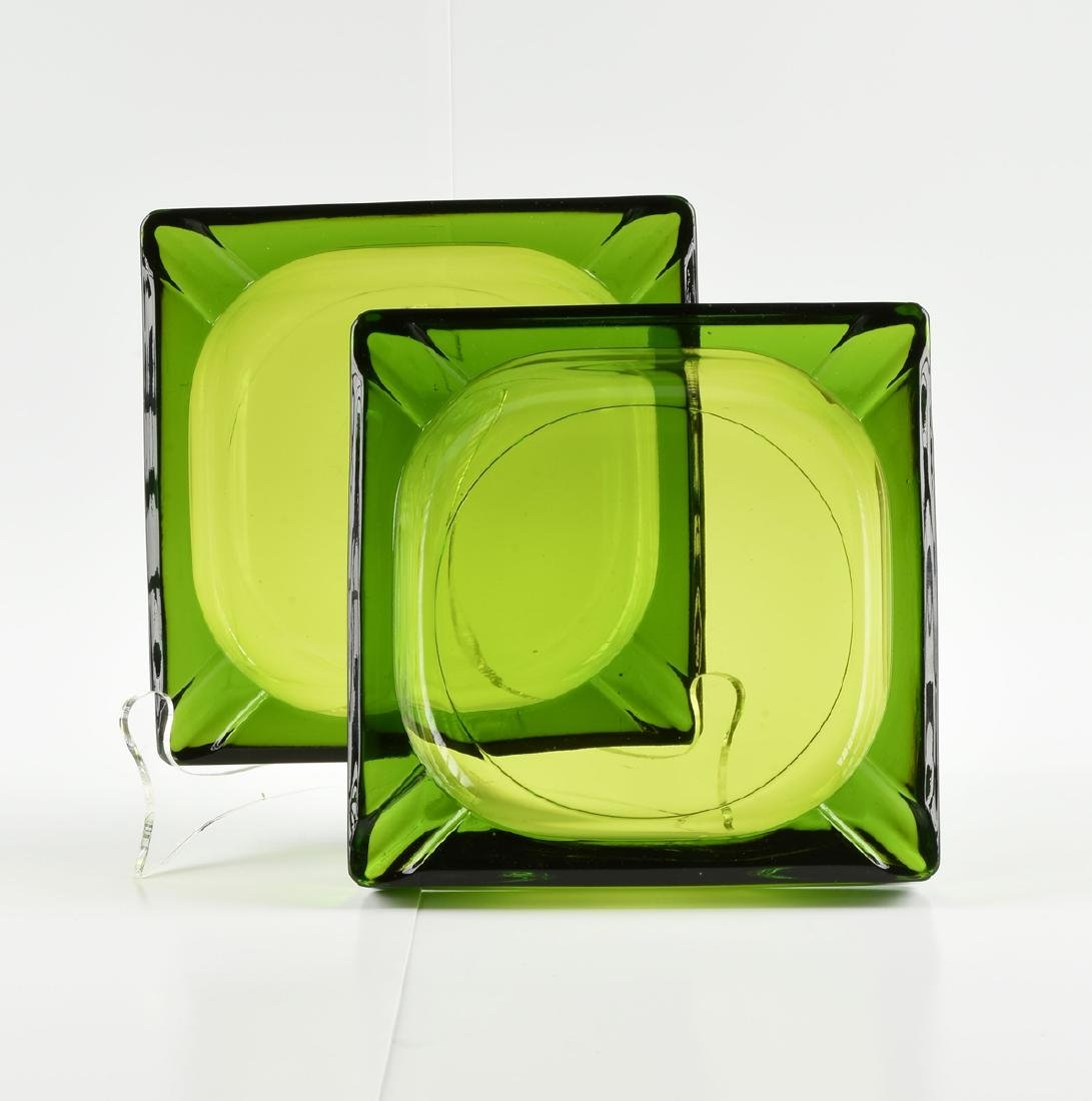 A GROUP OF FOUR GREEN GLASS VESSELS, CIRCA 1920-1970, - 2