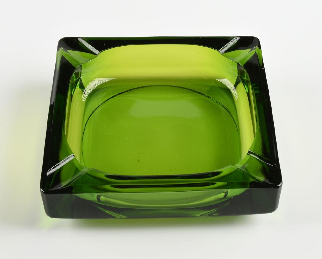 A GROUP OF FOUR GREEN GLASS VESSELS, CIRCA 1920-1970, - 3