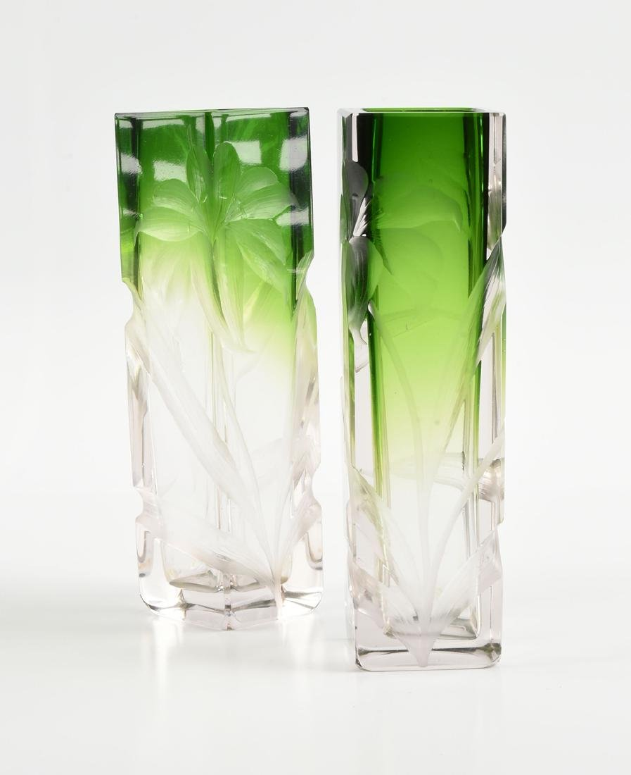 A GROUP OF FOUR GREEN GLASS VESSELS, CIRCA 1920-1970, - 4