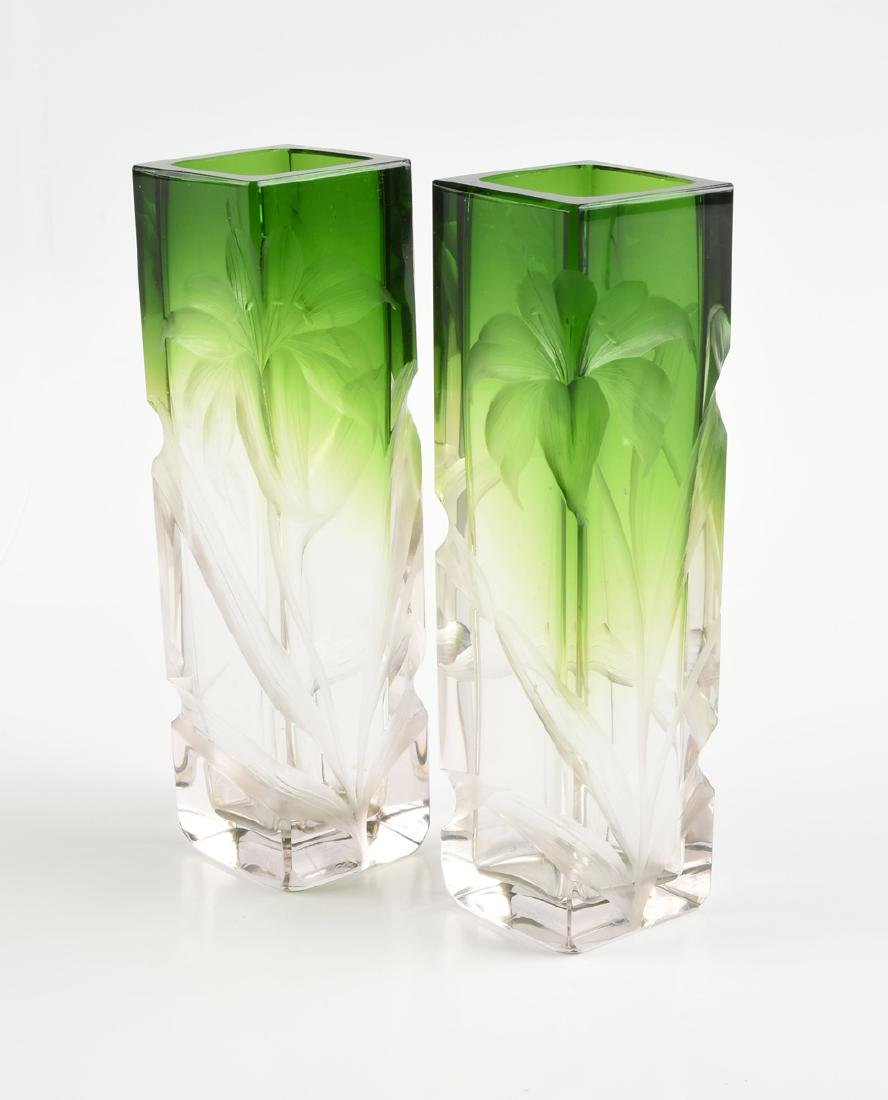 A GROUP OF FOUR GREEN GLASS VESSELS, CIRCA 1920-1970, - 5