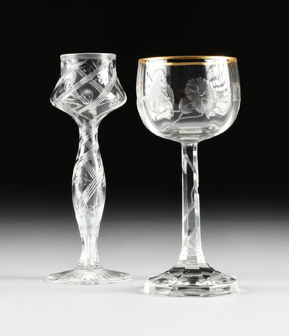 A GROUP OF TWO ART NOUVEAU ENGRAVED CLEAR CRYSTAL - 2