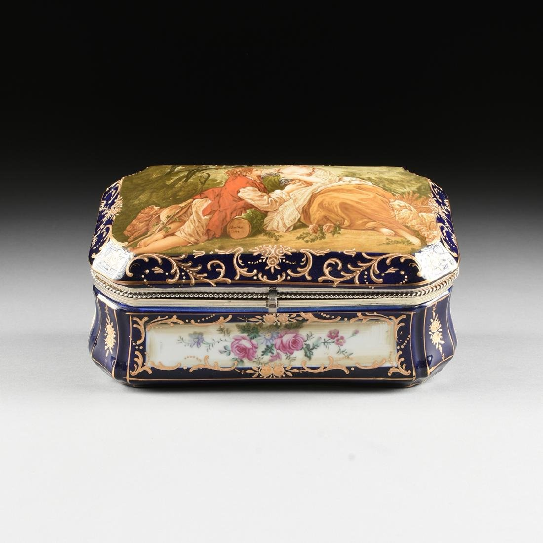 A GROUP OF TWO CONTINENTAL GILT AND ENAMEL DECORATED - 3