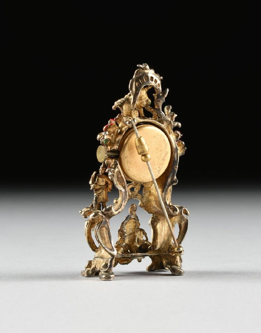 A CONTINENTAL MINIATURE ENAMELED SILVER GILT BROOCH - 3