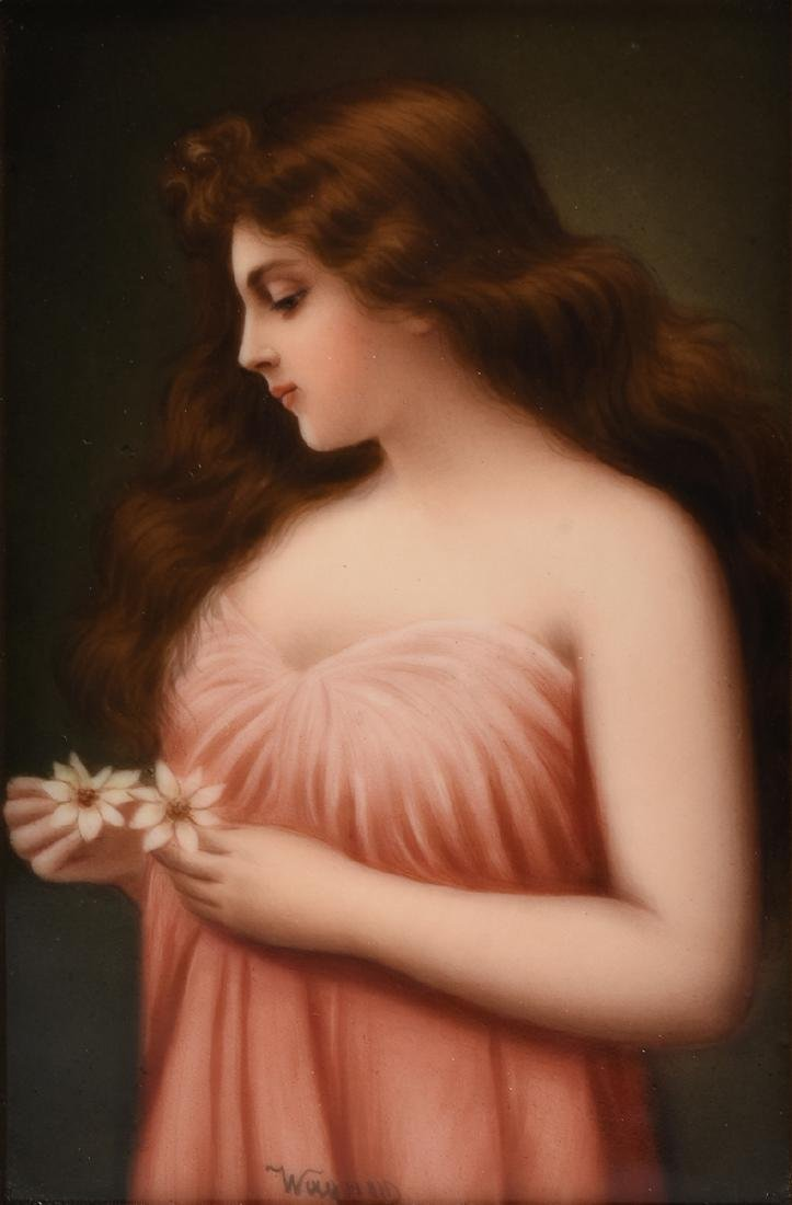 A FRANED HUTSCHENREUTHER HAND PAINTED PORCELAIN PLAQUE