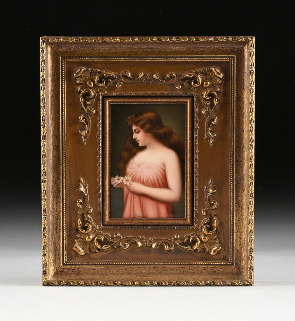A FRANED HUTSCHENREUTHER HAND PAINTED PORCELAIN PLAQUE - 2