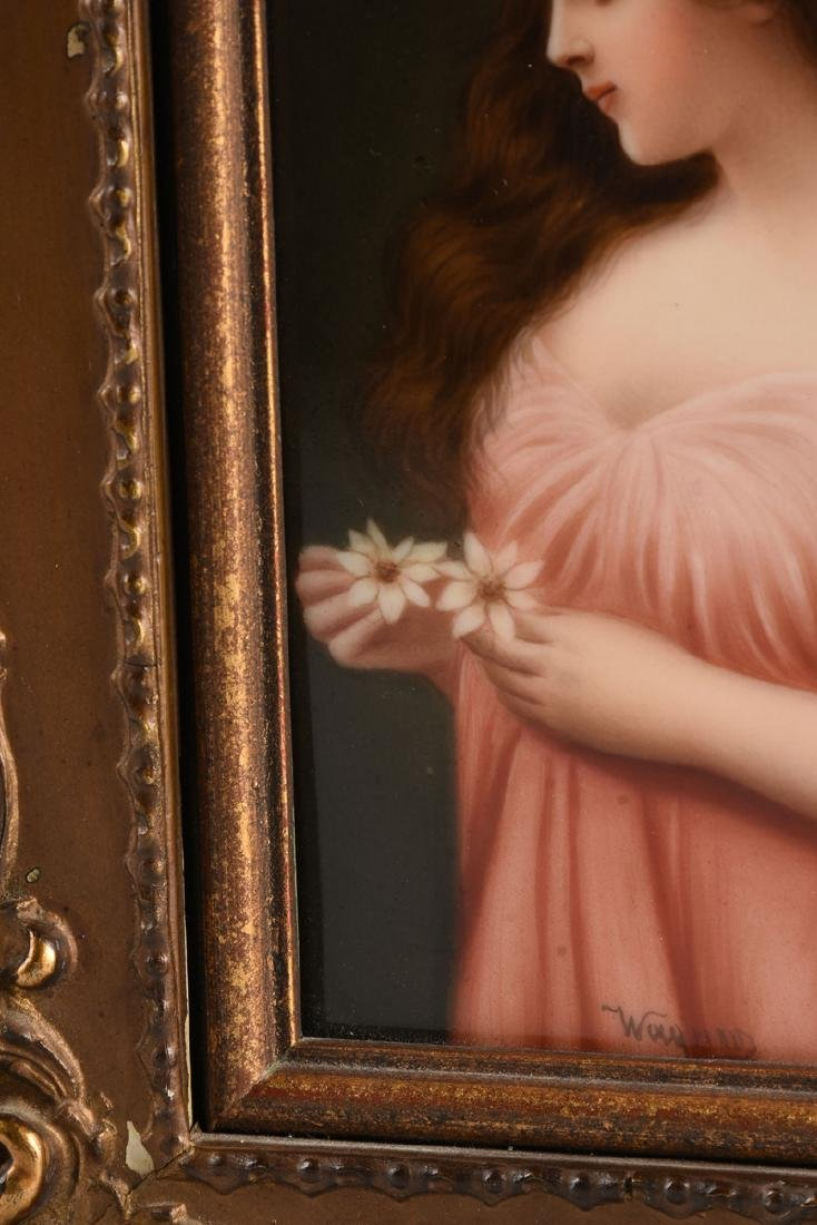 A FRANED HUTSCHENREUTHER HAND PAINTED PORCELAIN PLAQUE - 6
