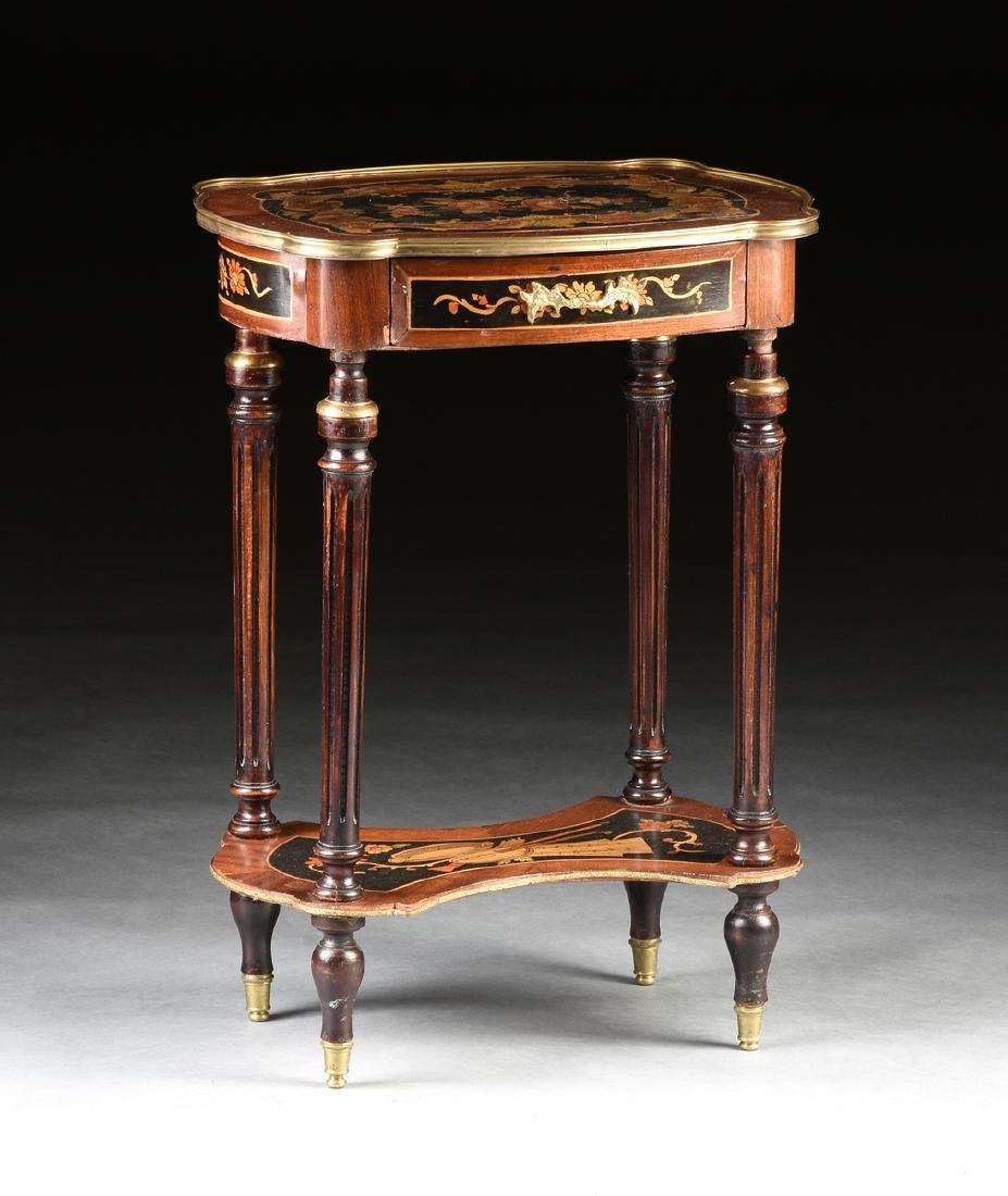 A NAPOLEON III STYLE INLAID BRASS MOUNTED SIDE TABLE,