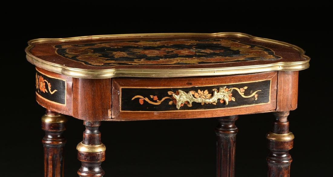 A NAPOLEON III STYLE INLAID BRASS MOUNTED SIDE TABLE, - 2