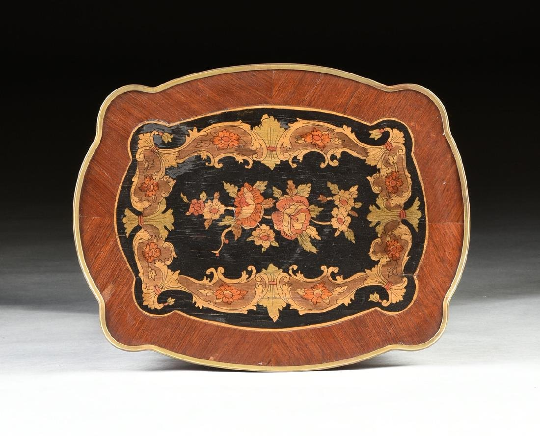 A NAPOLEON III STYLE INLAID BRASS MOUNTED SIDE TABLE, - 6