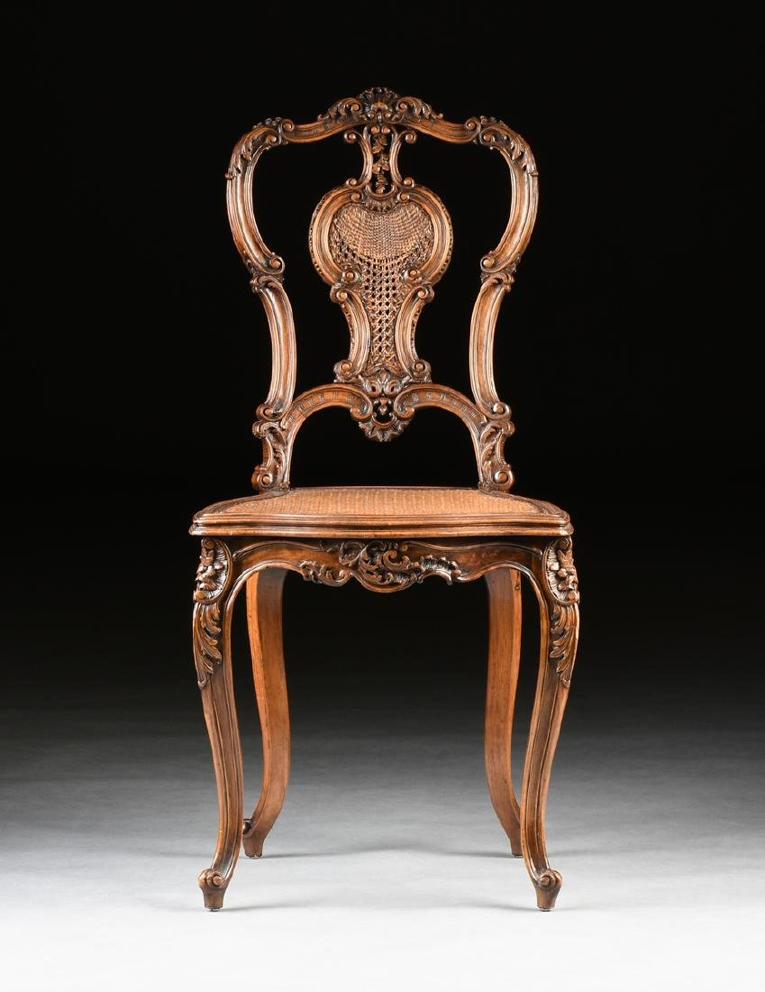 A CONTINENTAL ROCOCO REVIVAL WALNUT AND CANE BOUDOIR - 2
