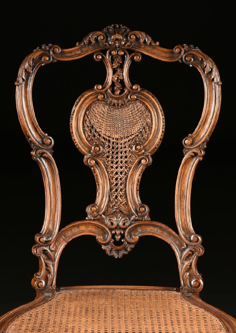 A CONTINENTAL ROCOCO REVIVAL WALNUT AND CANE BOUDOIR - 3