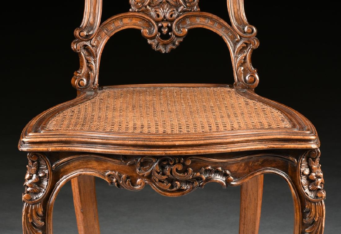 A CONTINENTAL ROCOCO REVIVAL WALNUT AND CANE BOUDOIR - 4