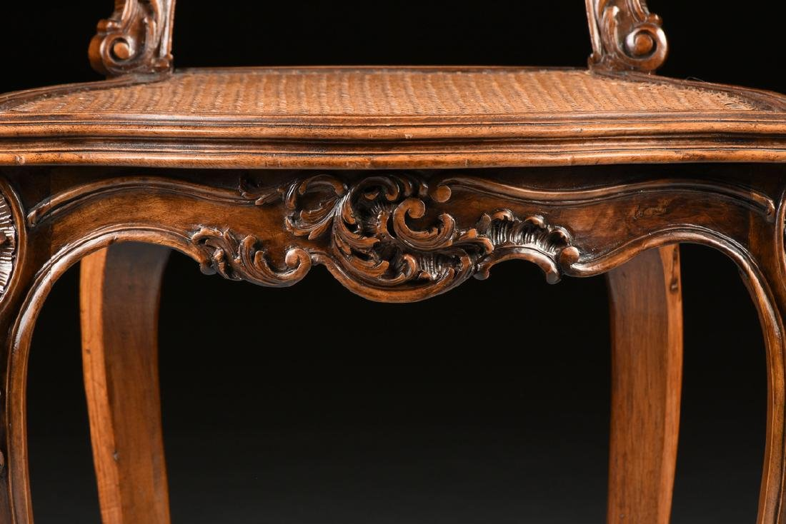 A CONTINENTAL ROCOCO REVIVAL WALNUT AND CANE BOUDOIR - 6